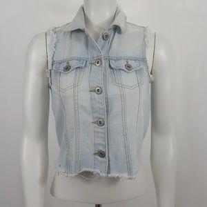 Highway Jeans Light Blue Wash Denim Vest Sz S